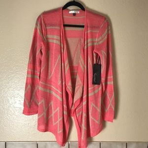 Say What? Drapey light open cardigan coral & tan